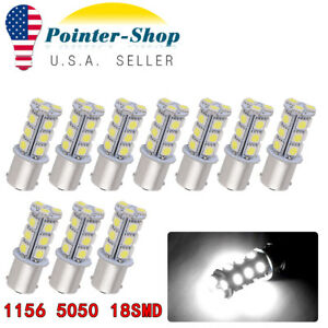 10x White 1156 Ba15s 5050 12v Car Tail Parking Rv Led Light Bulbs 1141 1003