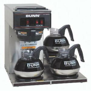 Bunn Pourover Commercial Coffee Brewer Three Lower Warmers Stainless Steel
