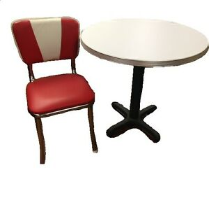 Commercial Retro Table And 2 Chair Set polished Aluminum Edge Table