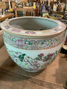 Antique Chinese China Famille Rose Planter Jardinaire 12 35 Tall 14 5 Wide