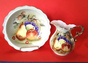 Lefton Large Pitcher And Bowl Set Hand Painted Green With Fruit Japan