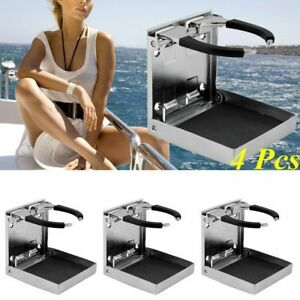 Folding 4x Stainless Steel Cup Drink Holder Adjustable Marine Boat Truck Rv Sw