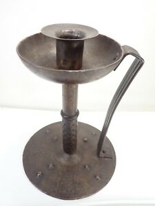 Arts And Crafts Style Hammered Metal Candle Stick Rasper Austria