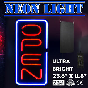 Bright 23 6 x11 8 Vertical Neon Open Sign 30w Led Light Wall Hotel Red And Blue