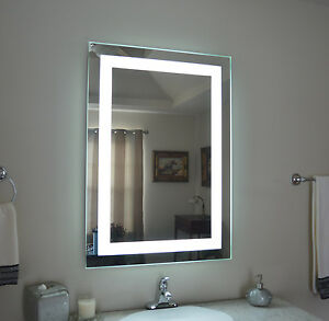 Front lighted Led Bathroom Vanity Mirror 28 X 40 Rectangular Wall mounted