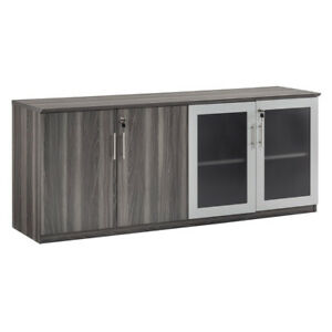Laminate Low Wall Cabinet Textured Gray Steel Finish