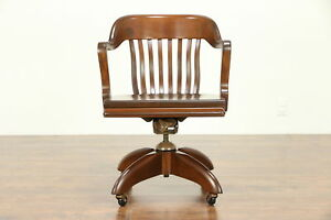 Walnut Vintage Swivel Adjustable Library Or Office Desk Chair Gunlocke 30441