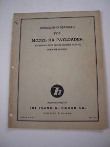Ih Hough Ha 2a Front end Wheel Pay Loader Tractor Operator s Owner s Manual