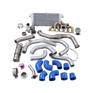 Single Gt35 Turbo Kit Manifold Downpipe For 240sx S13 S14 Rb20 Rb25 Blue 450hp