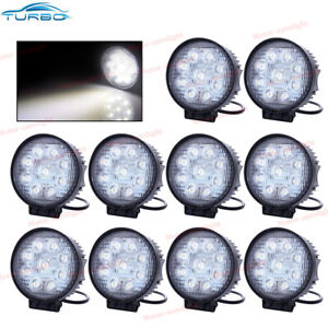 10 Pcs 27w 4 Inch Round Flood Light Led Work Off Road Suv Truck Driving Lights