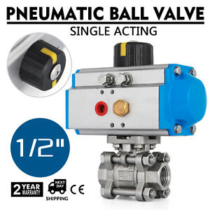 1 2 Pneumatic Ball Valve Single Acting 3 Pieces Air Actuated Oil Stainless