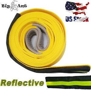 3 X20 20000 Lbs Tow Strap Heavy Duty Recovery Strap Nylon Towing Rope Yellow