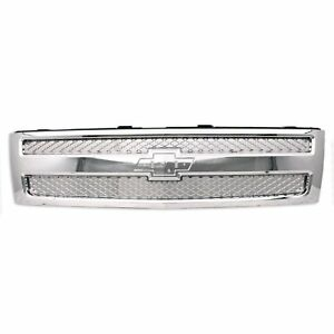 For 2012 2013 Chevrolet Silverado New Body Ft Front Grille Chrome W Chrome Mesh