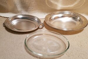 Silverplated 2 Pc Oval Covered Serving Dishes Platter Casserole And Glass Insert