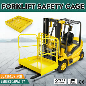 36 36 Forklift Work Platform Safety Cage 750lbs Capacity 36 36inch Yellow