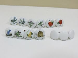 Lot Of 13 Porcelain Knobs Drawer Pulls