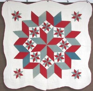 Show Stopper C 1880 90s Star Antique Quilt 15 Stars Red Green Finest Quilting