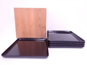 4012001 Japanese Tea Ceremony Lacquered Square Tray Set Of 5