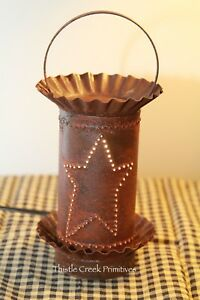 Punched Tin Electric Wax Tart Warmer Rusty Star Design Country