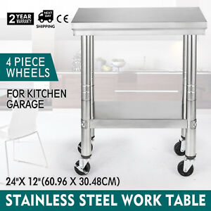 24 x12 Kitchen Stainless Steel Work Table Cleanable Shelf 4 Caster Wheels Home