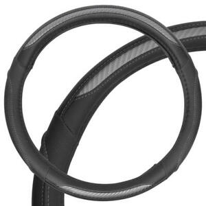 Carbon Fiber Synthetic Leather Steering Wheel Cover Medium In Gray Black