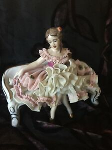 Dresden Porcelain Lace Figurine Wilhelm Rittirsch Germany Antique