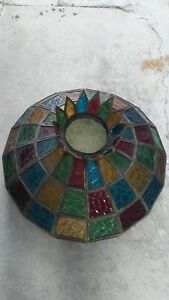 Vintage Stained Slag Glass Lead Hanging Lamp Shade Mid 20th Century