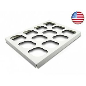 W Packaging Wp1410ci12c 14x10 White white Cupcake Insert With 12 Cavities For