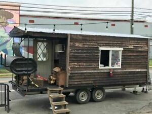 Log Cabin 8 5 X 19 Bbq Concession Trailer With Porch Used Barbecue Pit For S