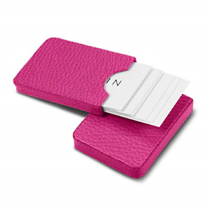 Lucrin Sliding Case For Business Cards Fuchsia Granulated Leather