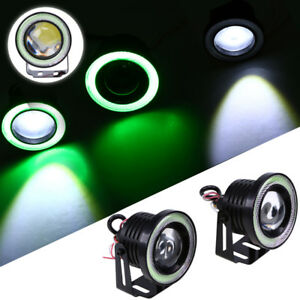 2pcs 3 5 Green Cob Led Fog Light Projector Car Angel Eye Halo Ring Drl Lamp