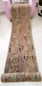 Primitive Antique Cr1930 1939s Wool Pile Natural Dye Oushak Runner Rug 1 6 10