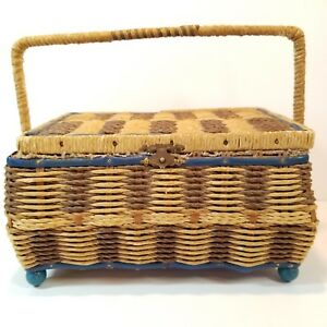 Antique Wicker Sewing Basket Blue Satin Trim Woven Box Hinged Lid Footed