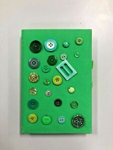 Button Covered Green Notebook For Art And Writing