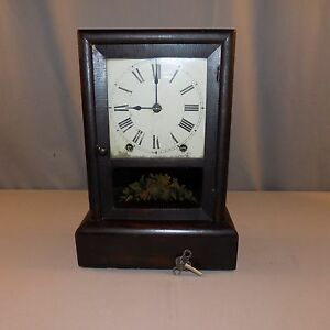 Antique Cottage Clock Seth Thomas 8 Day Spring Wood Case Working C 1890 Key