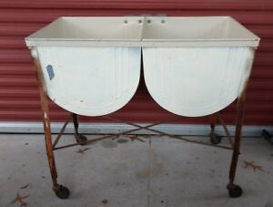 Vintage Galvanized Double Wash Tub Stand On Wheels 38 W X 20 5 D X 34 T