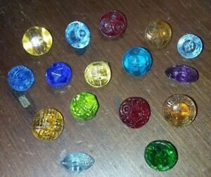 Colorful Lot 16 Antique Depression Glass Buttons Pressed Faceted Spindle
