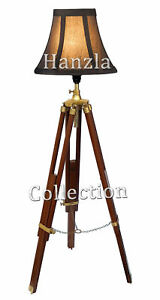 Vintage Nautical Tripod Floor Lamp Light Antique Wooden Tripod Studio Shade Lamp