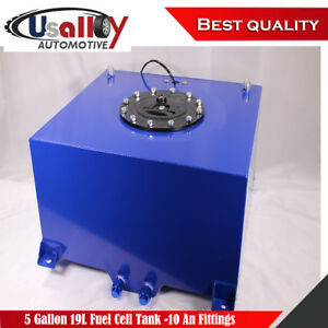 5 Gallon Blue Aluminum Fabricated Fuel Cell Tank 19l 10 An Fittings