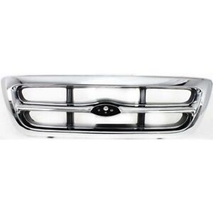 For 1998 1999 2000 Ford Ranger Front Grille 2wd Chrome