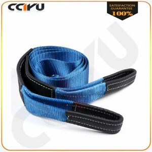 3 X 10ft 12ton Blue Tow Strap Winch Sling Off Road Atv Utv Recovery 20000lbs