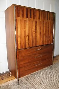 Mid Century Modern Walnut Chrome Lane Tallboy Chest In The Manner Of Paul Mccobb