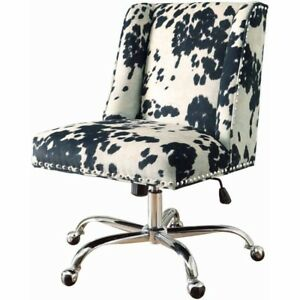 High Back Office Chair Black Upholstered Armless Executive Desk White Furniture