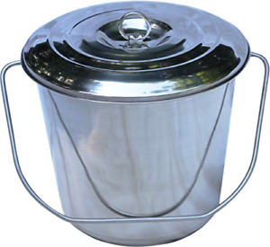 Quality Dairy Stainless Steel Milk Pail Bucket With Lid Handle And Open Lip Qt