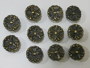 Lot Of 11 Vintage Rdca Brass 1960 Flower Floral Knobs