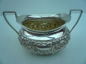 Silver Sugar Bowl Sterling English Antique Hallmarked 1903