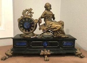 Antique French Bronze Marbel Figural Clock