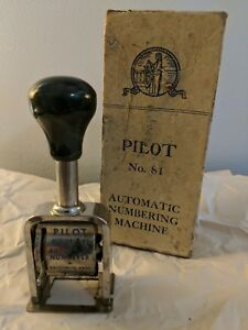 Vintage Pilot Automatic Numbering Machine Stamper No 81 With Box Vg