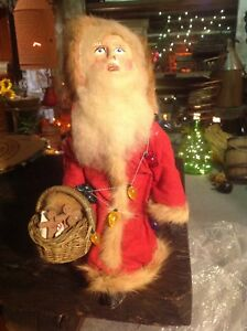 Very Primitive Santa With Light Strand And Basket Of Ginger Bread Cookies