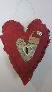 Primitive Valentine Sday Red Heart Wall Hanging W Rusty Pin Buttons Size 131n